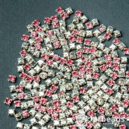 Стразы в цапах 4мм (розовый) 100 штук