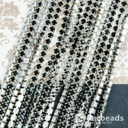 Стразовая цепочка серебряная 2,8мм ss10 (черный) отрезок 10см