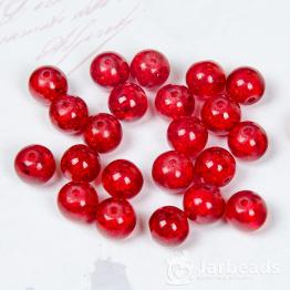 Бусины стеклянные кракле 8мм (красный) 10штук