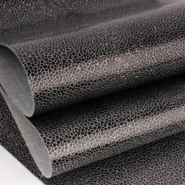 Заменитель кожи Африка лоскут 20*30см (черный с серебром) арт.B320-145