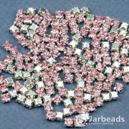 Стразы в цапах 4мм (розовый нежный) 100 штук