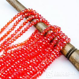 Кристаллы 2*3мм красный прозрачный блестящий 200штук