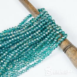 Кристаллы 4*5мм морская волна прозрачный блестящий 144штуки
