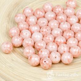 Бусины стеклянные PRECIOSA круглая 7мм (розовый с белым) 10штук