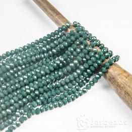 Кристаллы рондель 4*5мм зеленый темный керамика 144штуки арт.20
