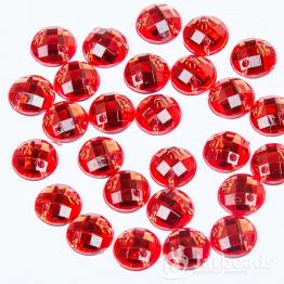 Стразы пришивные 8мм круглые (красный) 10шт