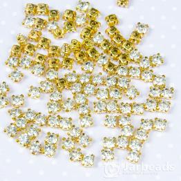 Стразы в золотых цапах 5мм (хрусталь) 100 штук