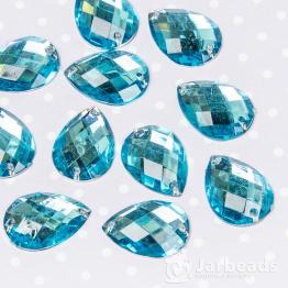 Стразы пришивные каплевидные 13*18мм (голубой) 10шт