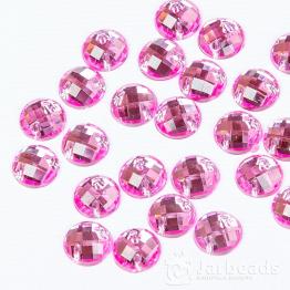 Стразы пришивные 8мм круглые (розовый) 10шт