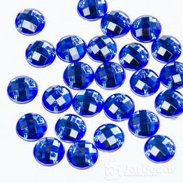 Стразы пришивные 8мм круглые (синий) 10шт