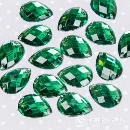 Стразы пришивные каплевидные 13*18мм (зеленый) 10шт