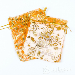 Мешочки из органзы Розы 9*12см (оранжевый)