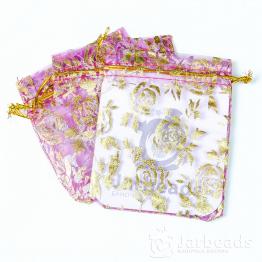 Мешочки из органзы Розы 9*12см (малиновый)