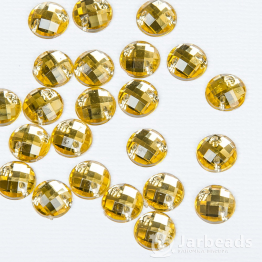 Стразы пришивные круглые 8мм (золотой) 10шт