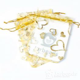 Мешочки из органзы Сердца 9*12см (золотой)