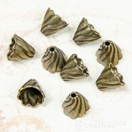Колпачки литые Конусы с волной вн.d.10мм (бронза) 2шт.