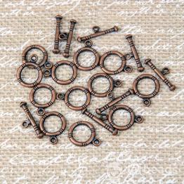 Замочек тоггл Кольцо с насечками петля 12*16мм, планка 7*20мм (медь)