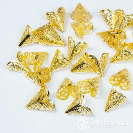 Колпачки разжимные ажурные 11*16мм (золото) 2шт.