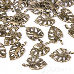 Подвеска металлическая Лист пальмы  1,2*2см (бронза)