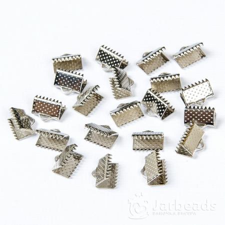 Зажим для ленты 10x6мм серебро