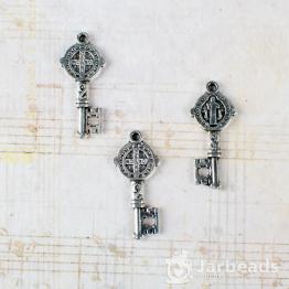 Подвеска металлическая Ключь 1,1*2,4см (серебро)