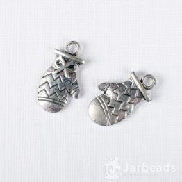 Подвеска металлическая Варежка 1,5*2,5см (серебро)