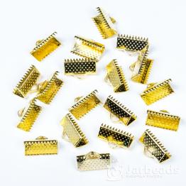 Зажим для ленты 13*6мм (золото)