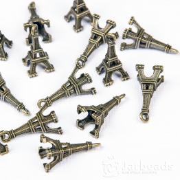 Подвеска металлическая Эйфелева башня 3D 1,9*0,8*0,8см (бронза)
