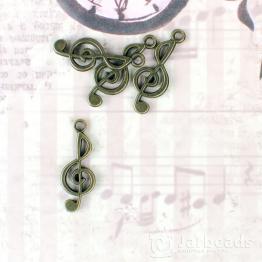 Подвеска металлическая Скрипичный ключь 1*2,5см (бронза)