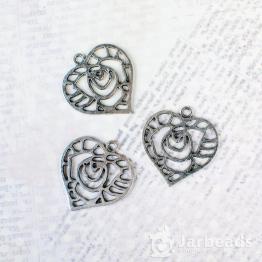 Подвеска металлическая Роза в сердце 3*3см (серебро)