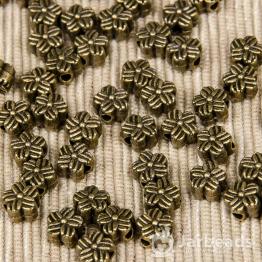 Разделитель для бусин Цветок с полосками 7*7мм (бронза)
