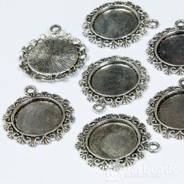 Сеттинг круглый 3*3см с завитками для кабошона d.20мм (серебро)