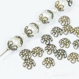 Шапочки для бусин Ажурный цветок 10*10мм (бронза) 10шт.