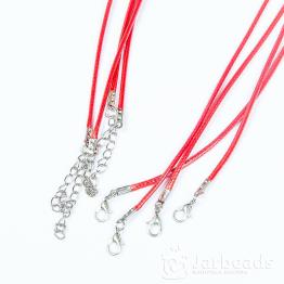 Шнур из синтетических нитей 46+5см d.2мм (красный матовый)