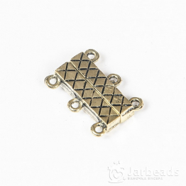 Замочек магнитный прямоугольный с 3 петлями 1,5*2мм (золото с чернением)