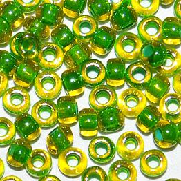 Бисер PRECIOSA 10/0 (50гр) 1сорт цвет: желтый с зеленой серединкой арт.81012