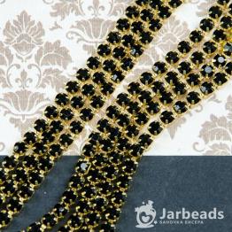 Стразовая цепочка золотая 4мм ss16 (черный) отрезок 10см