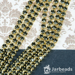 Стразовая цепочка золотая 4мм ss16 (дымчатое серебро) отрезок 10см