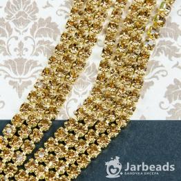 Стразовая цепочка золотая 4мм ss16 (шампань) отрезок 10см