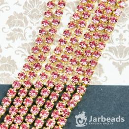 Стразовая цепочка золотая 4мм ss16 (розовый) отрезок 10см