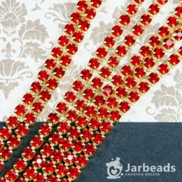 Стразовая цепочка золотая 4мм ss16 (рубин) отрезок 10см