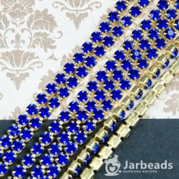 Стразовая цепочка золотая 4мм ss16 (синий) отрезок 10см