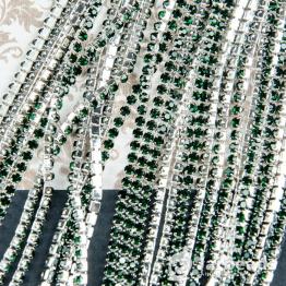 Стразовая цепочка серебряная 2,4мм ss6 (зеленый темный) отрезок 10см