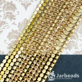 Стразовая цепочка золотая 2,6мм ss8 (цитрин) отрезок 10см