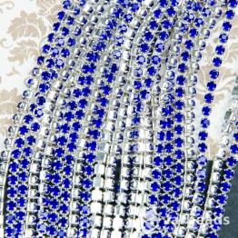 Стразовая цепочка серебряная 2,6мм ss8 (синий) отрезок 10см