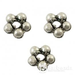 Разделители для бусин 5 шариков 4,5мм (серебро хром) 10шт X-LF1462Y