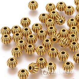 Разделители для бусин Полосатые шарики 6мм (золото) 10шт X-GLF10326Y-NF