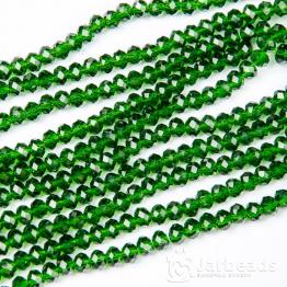 Бусины-кристаллы рондель 6*8мм зеленый прозрачный с отливом 10штук арт.5791