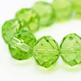 Бусины-кристаллы рондель 6*8мм зеленый светлый прозрачный 10штук арт.3341