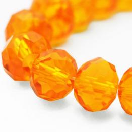 Бусины-кристаллы рондель 6*8мм оранжевый морковный прозрачный 10штук арт.4386